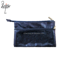 Double zipper dark blue cool flat PU leather school custom pencil bag, pencil pouch