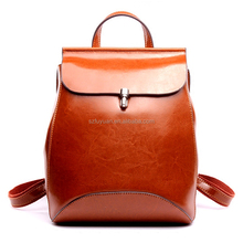 2017 Retro oil wax leather backpack ladies leather satchel backpack at factory price