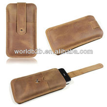 Genuine Leather Pouch Bag Case for Samsung Galaxy S4 i9500