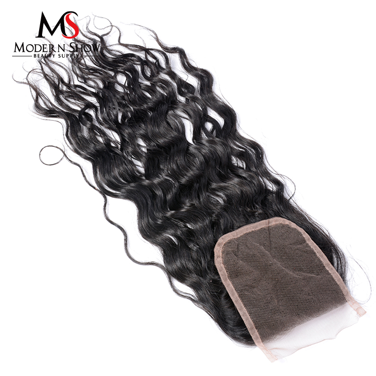 Modern Show Hair Brazilian Water Wave Lace Closure 130% Density Human Hair Extension top Closures free part Remy Hair <strong>C</strong>