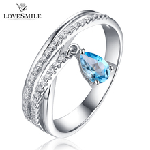 Handmade design silver jewelry women natural stone silver ring with topaz