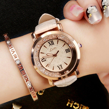 >>>Flowing Rhinestone Fashion Woman Quartz Watch Female PU Leather Elegant Ladies Watch