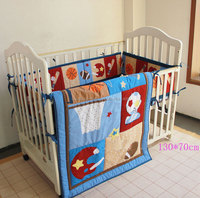 blue color nursery cot bedding with bumper set