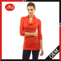 ladies elegant high neck tight sweater knit pullover