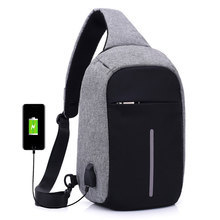 Anti theft man chest bag crossbody women sling bag with usb charging port