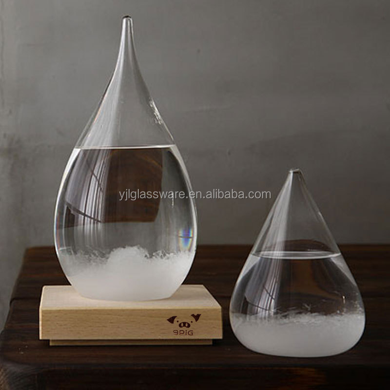 hot selling storm glass barometer with logo and wooden base