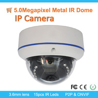 TOP High definition! H.265 5.0Megapixel IP IR Dome Camera, P2P, ONVIF, POE/Audio optional