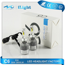 China factory Automobiles & motorcycles auto car C6 led headlights bulb kit h4 h7 h11 h13 9007 9004 9005 9006 led headlight