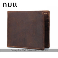 Antique Style Brown Crazy Horse Genuine Leather Men Wallets