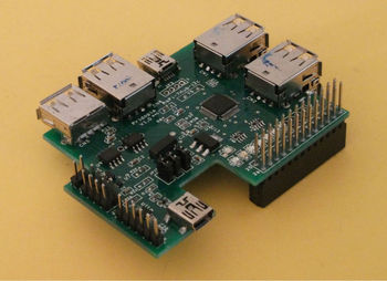 Raspberry Pi - 7 Ports USB Hub & I2C multi-function Board