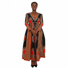 2017 Fashion Long Sleeve Deep V Neck Women African Kitenge Dress Designs
