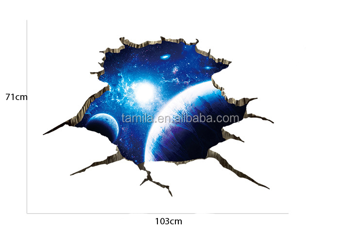 wonderful Space Star Planet Bathroom Living Room 3D Floor sticker for Tile Painting