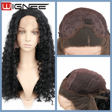 Synthetic Lace Front Afro Curly Wig For Black Women Natural Black Color Synthetic Hair Weaving Braided Wig
