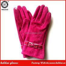 Cheap Women's Touchscreen Polyester Fleece Lined Bow Pigskin Suede Dress Leather Gloves