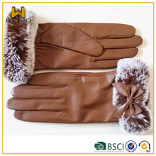 2015 Luxury fashion desgin beautiful rabbit fur wrist ladies sheepskin leather gloves