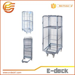 Collapsible 2-3-4 side roll container/roll cage/metal trolley