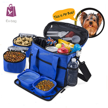 Pet Dog Travel Bag with 2 Lined Food Carriers Bag and Big Treat Bag