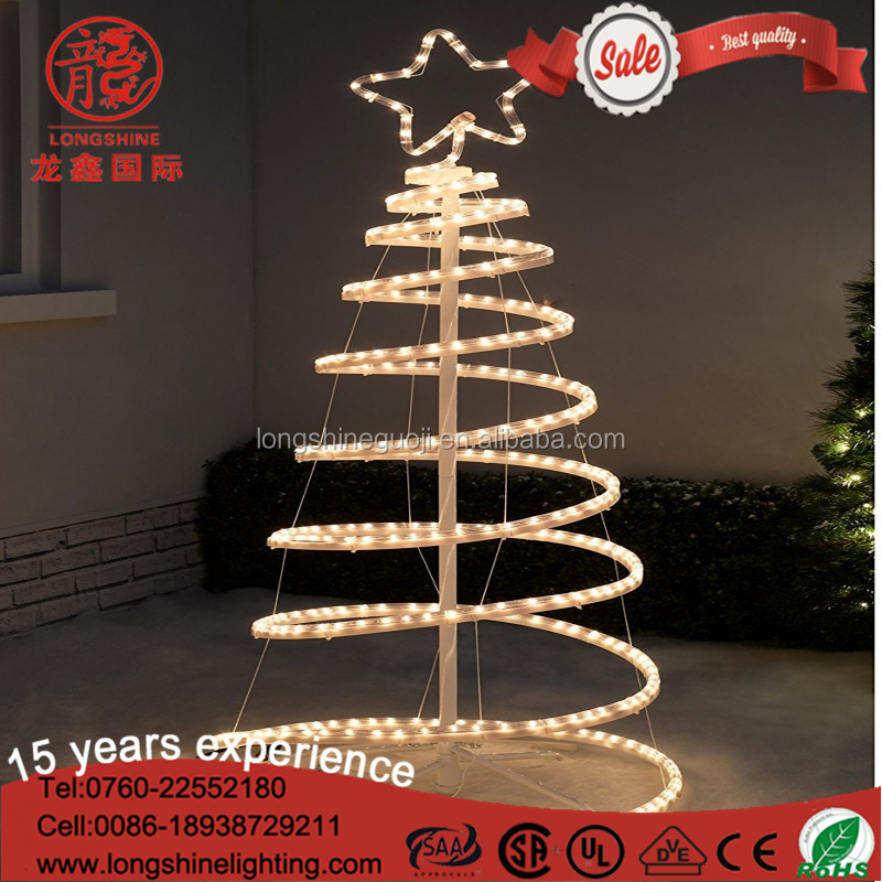 Best selling LED Flashing mini Silhouette 3D Spiral Rope Christmas Tree light for outdoor decoration
