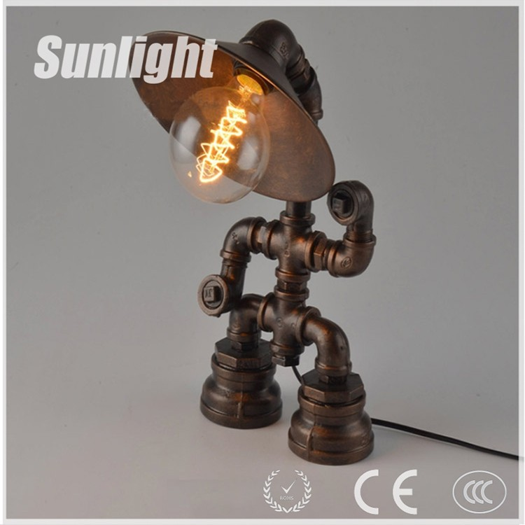 Steampunk lamp robot lamp pipe lighting table lamp edison for Lampe de bar cuisine