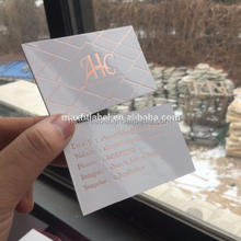 Custom Rose Gold Foil Business Card With Debossed Logo Color Edge