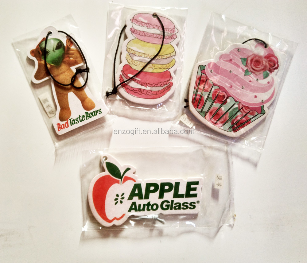 wholesale paper hanging car air freshener, promotion young leaf air freshener card
