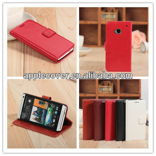 Wallet Leather Mobile Phone Case for HTC One M7