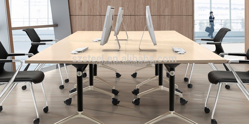 flip top computer desk movable conference table laptop table with wheels