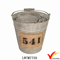 Wood Grip/Handle Antique Metal Bucket with Fabric Stick