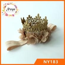 Gold Lace Flower Crown Headband Princess Lace Crown Headband with Flower
