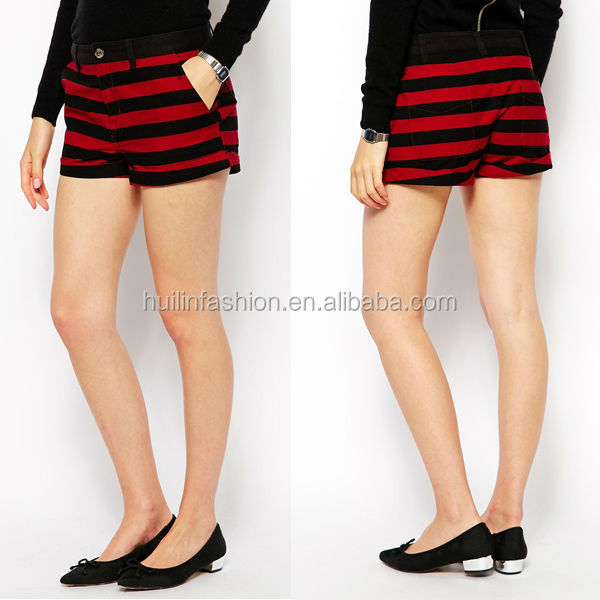 2014 hot sale sexy girls' striped low price clothes women jeans shorts