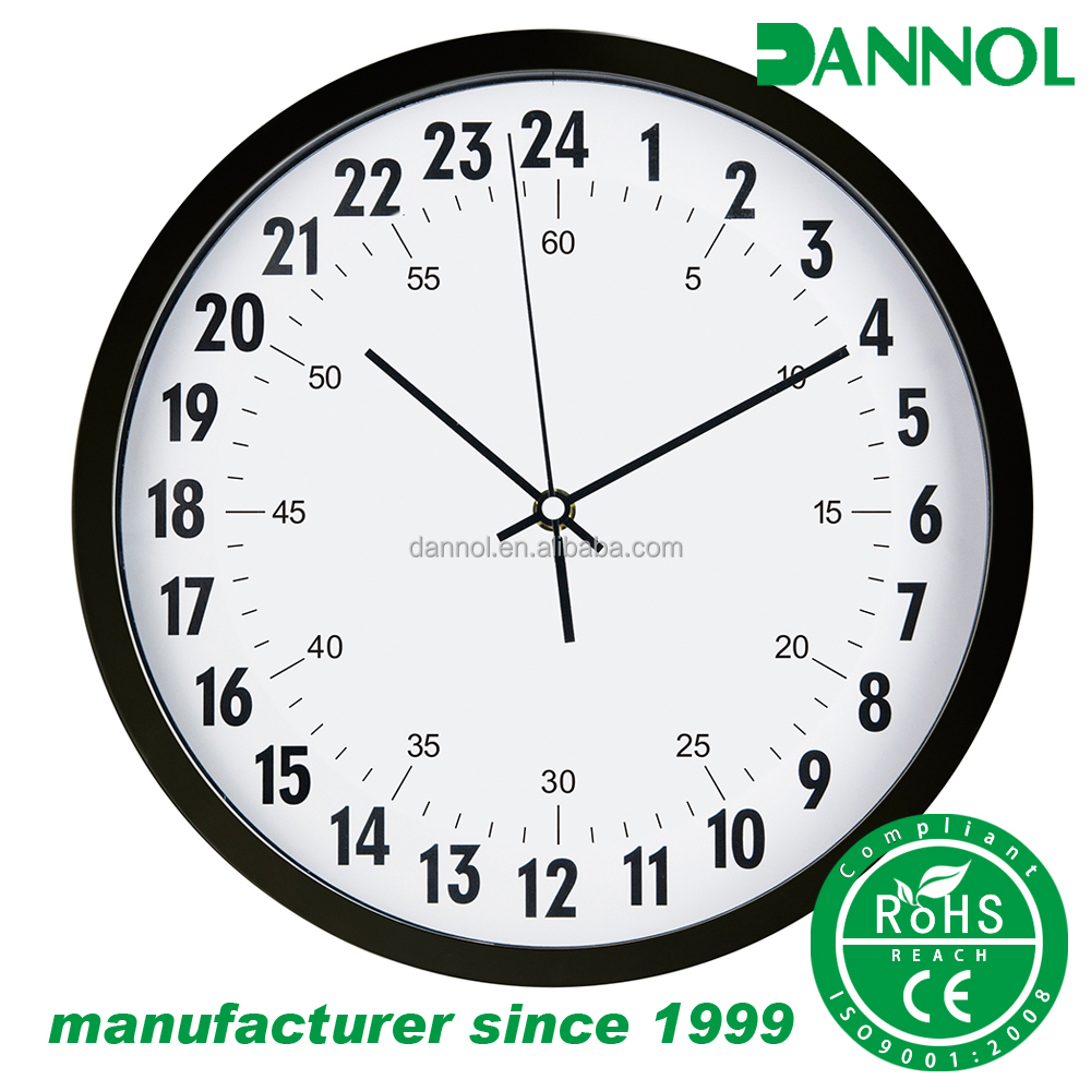 Latest design good quality plastic 24 hours analog wall clock 24 horas relogio analogico