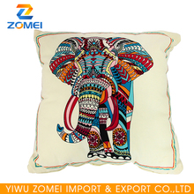 2016 listing elephant printed Plain beige Canvas massage pillow