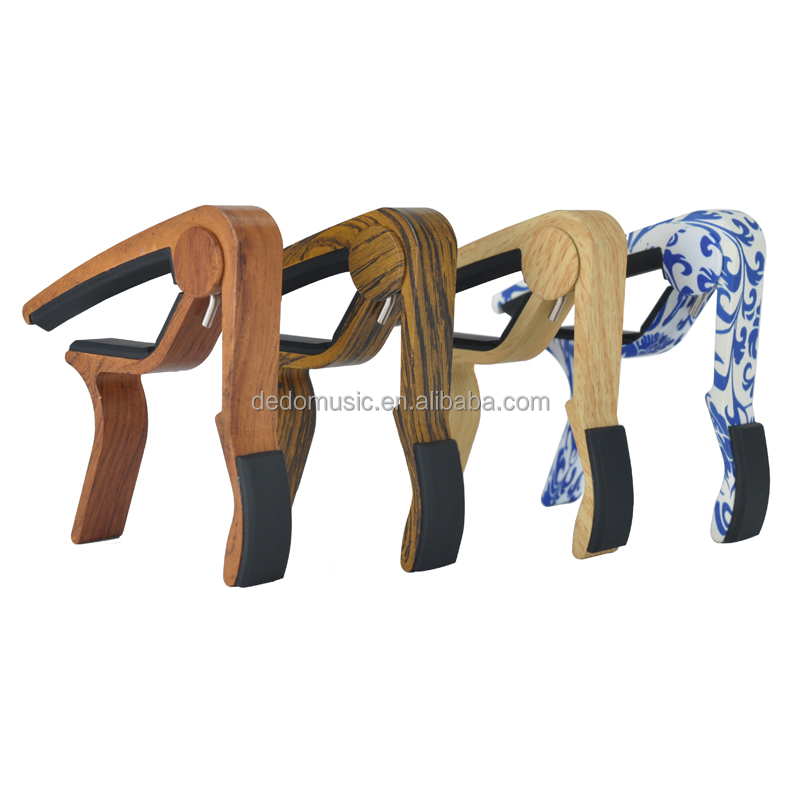 Used for acoustic guitar wood color custom made guitar capo