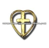 Golden Cross Metal Lapel Pin for Sale