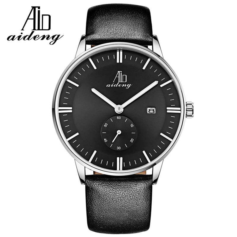 Automatic solid stainless steel case 3ATM waterproof IPS genuine leather men watches
