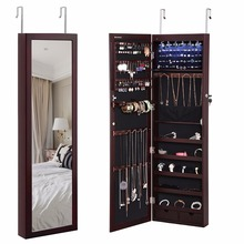 Key Lock Stand Jewelry Box Wall Door Mounted Jewelry Armoire Organizer with Mirror