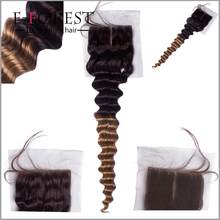 2015 New Ombre Hair Color 33# Hair Closure Grade 6A Human Malaysian Body Wave Lace Closure