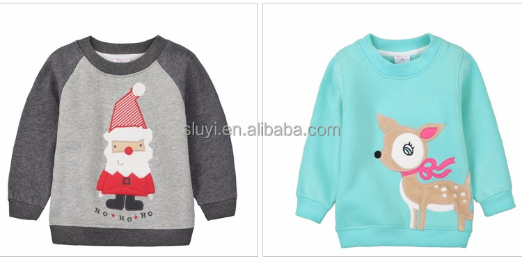 blank baby t-shirts wholesale christmas decorating cute animals patterns long sleeve O-neck cotton kids t-shirt wholesale