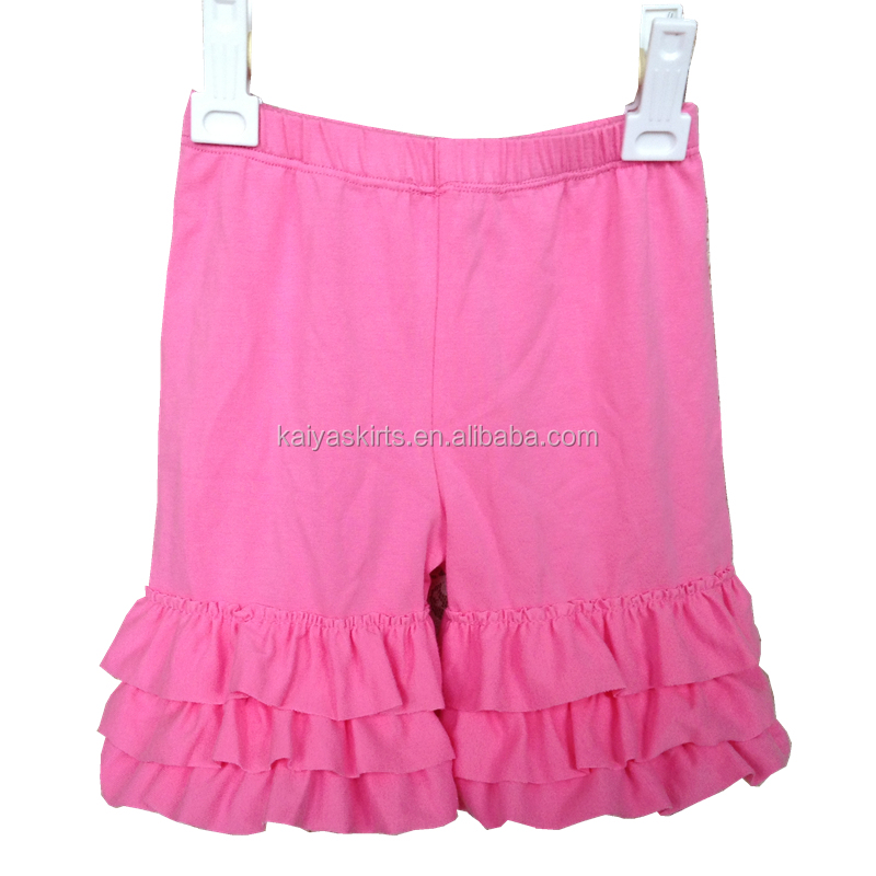 Many different colors summer baby 95% cotton double ruffle shorts