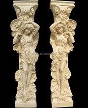 Whole Sale Outdoor Decorative Hand Carved Marble Statue Pillar