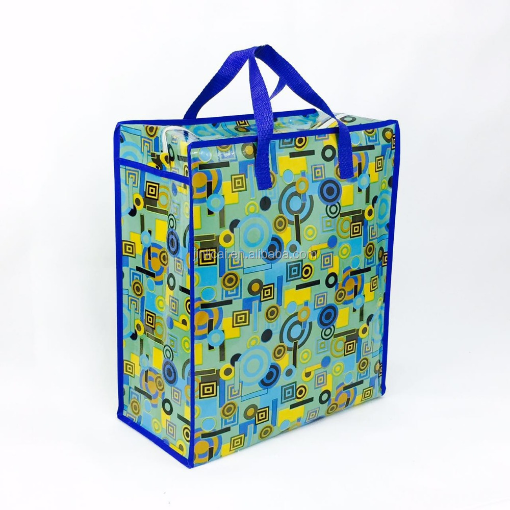 pp woven waterproof storage tote bag with handle zipper