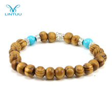 Fashion custom silver charm and silver spacer wooden beads bracelet