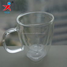 200ml glass double wall thermos cup with lid with handle