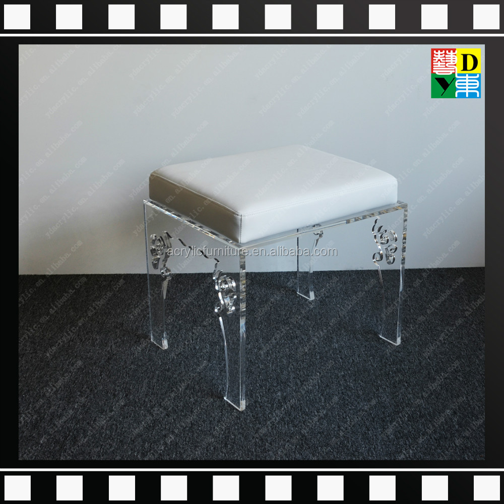 Clear acrylic vanity stool,clear acrylic bar stools,transparent acrylic stool