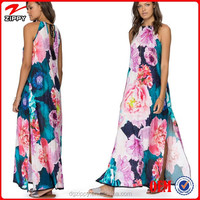 Cut out back chiffon maxi dress woman wear simple long dress
