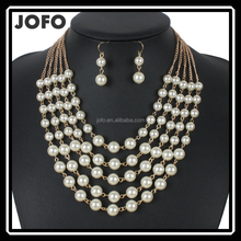 Multi-Layered Pearl Bead Chain Statement Necklace Earrings Set Faux Suede Velvet Strand Chunky Pearl Bead Necklace Set