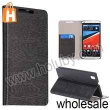 Wood Grain Wallet Style Card Slot Flip Stand Leather Case for HTC Desire 800 816