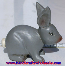 Small Wooden Grey Rabbit Hand Carved Figurine Sculpture Statue, Decor Carvings for Sale