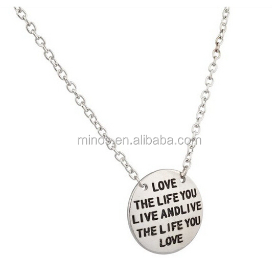 Stainless Steel Pendant For Best Friends, Love The Life You Live Inspiration Pendant Necklace