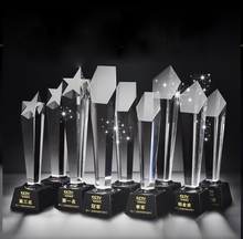 Wholesale cheap hot sale blank crystal glass award trophy for personalized custom